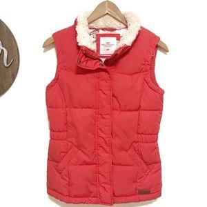H&M down pink puffer vest faux fur collar